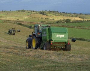 Round bale silage in the top meadows