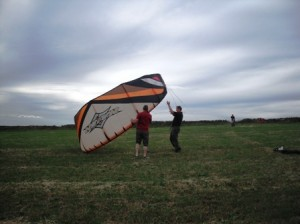 launching our kite surfing kite