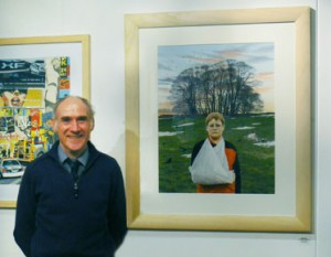 "Roger exhibiting his painting ""Boy with the broken arm"""