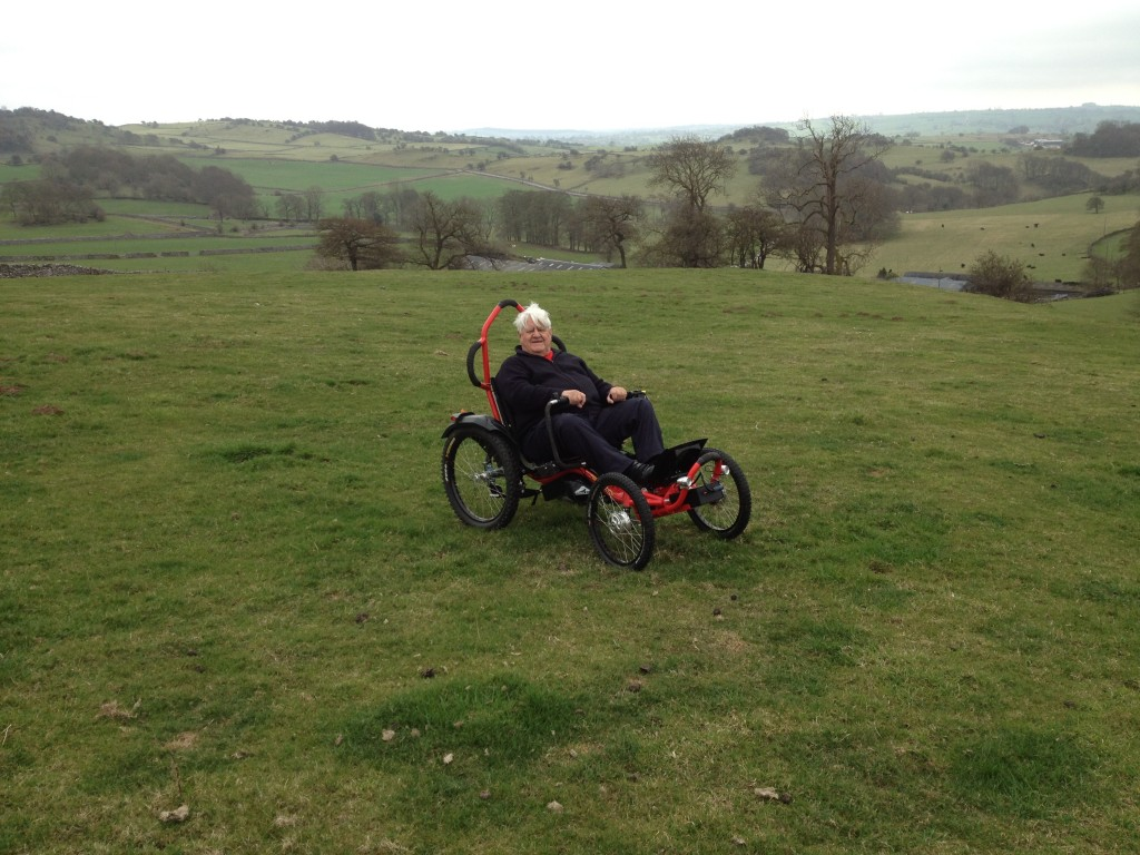 testing out off-road wheelchair at Hoe Grange