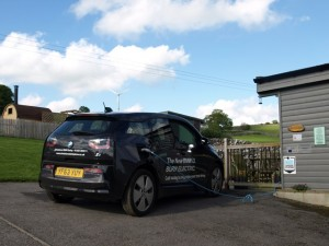 An Electric BMW 3i charging at Hoe Grange