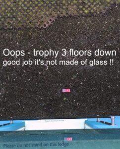 VisitEngland Trophy dropped on fllor