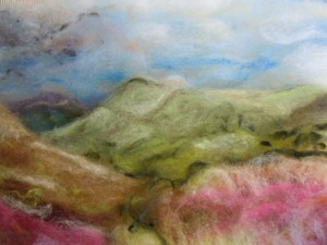 Peak District landscape in felt