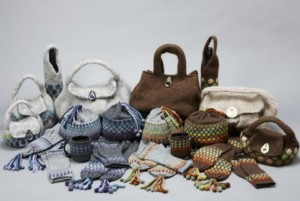 Hand knitted hats, gloves and bags