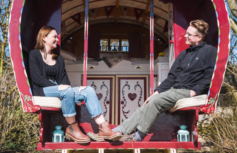 seats on gypsy caravan - photo by Visit Peak District