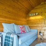 sofa bed in glamping pod