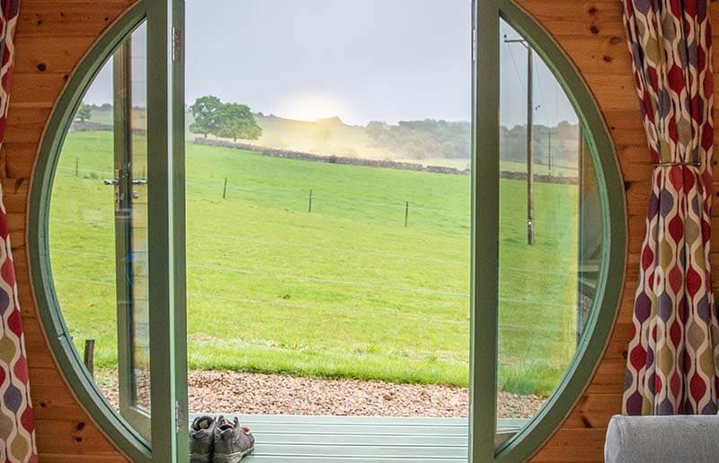 Peak District view from glamping pod
