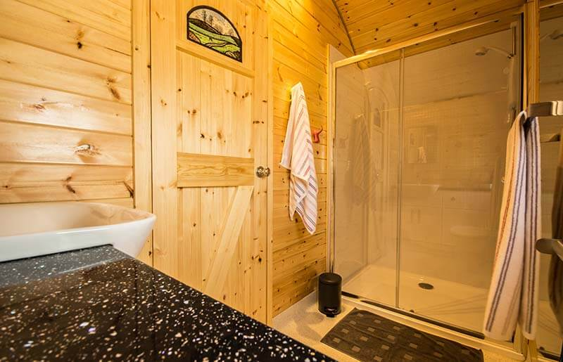 glamping luxurious shower