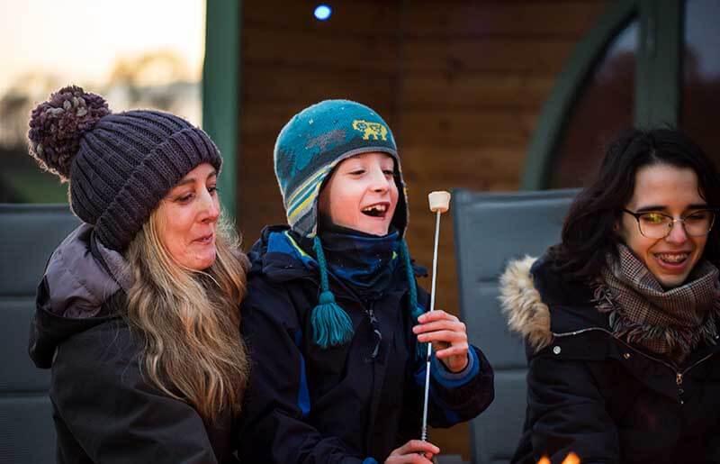 family holidays eating marshmallows