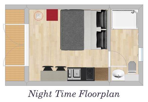 Glamping Pods Night Time Floorplan