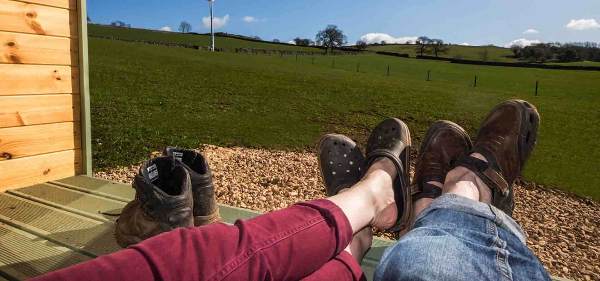 view from glamping pod