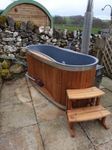 log-fired hot tub