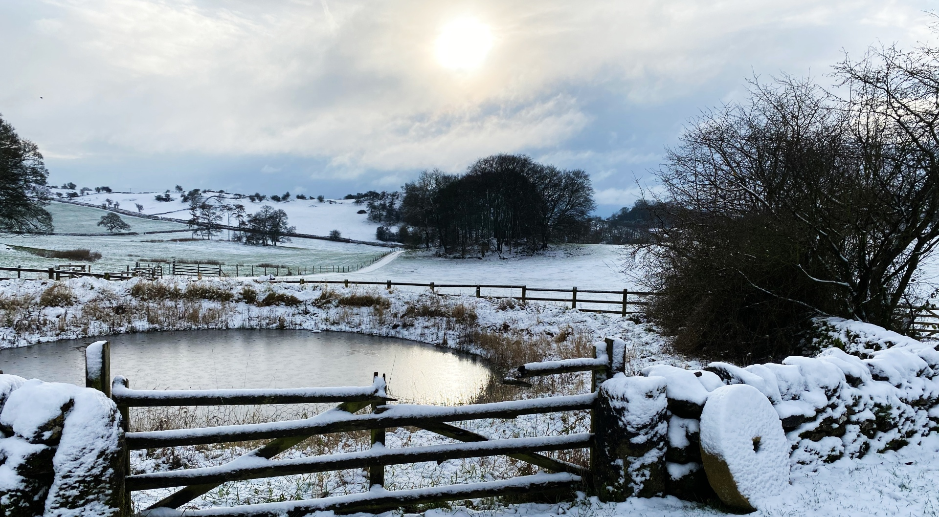 dew pond at Hoe Grange in the snow